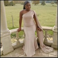 African Simple Champagne Plus Size Mermaid Prom Dresses With Cape Satin Special Occasion Dress One Shoulder Floor Length Evening Gowns