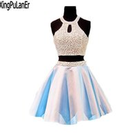 Sexy Short Prom Dress Light Blue Satin Skirt Two Piece Design Scoop Off The Shoulder Mini Homecoming Dresses Party