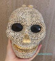 Designer-Black handmade Skull crystal women evening bags Halloween gift bags luxury diamond ladies handbags party Clutch purse