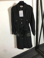 2021 Invierno CC Marca Abrigo Mujer Diseñador Largo Trench Coat Logo Bordado Bolsillo Manga Larga Top Jacket Negro Mujeres