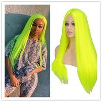 Peruki syntetyczne Suq Długie proste Peruka Włosy Naturalne Cosplay Party Neon Zielony Ogrzewanie Odporne dzienne Codzienne Hairligs