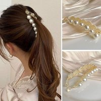 Hair Accessories Women Banana Claw Clip Elegant Pearls Ponytail Holders Hairpin Barrettes Fashion Simple Hairclip