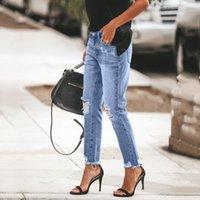 Women Sweatpants Fashion summer Jeans Casual Ripped High Waist Jeans Slim Fit Female Hole Broken Spodnie Damskie #j4s1