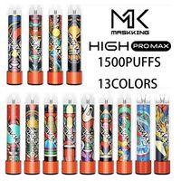 Maskking High Pro MAX Penna vape monouso e dispositivo di sigaretta con luci 850mAh Batteria 4.5ml cartuccia precompilata POD 1500 soffioni mk kit vs flume float