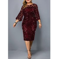 PROPCM Plus Size Women's Summer Dress Elegant Sequin Birthday Party Dresses For Women Casual Wedding Evening Outfits 5XL