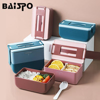 Louça de jantar conjuntos Baispo Portable Lancheira com compartimento micro-ondas Aquecimento Bento Louça de recipiente de alta capacidade para piquenique