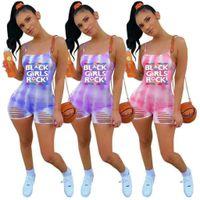 Sports d'été Loisirs Jumpssuit Femmes Mode Cravate Teinture Imprimé Sling Casual Casual Casual Supérieur Pantalon Siamois Filles Filles Trendy Leggings Pants G69WEXX