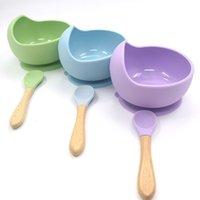 Cuillère de cuillère à ventouse intégrée en silicone Vaisselle non glissante Vaisselle enfants Baby-accessoires d'alimentation complémentaire APPLIQUÉ 12 8YB N2
