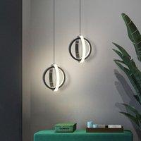 Pendant Lamps Black Whtie Modern LED Chandelier Living Room Lights For Dining Table Bar Counter Ring Lamp Height Adjustable