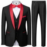 Men's Suits & Blazers 3 Pieces Set Business Coat   Male Slim Fit Color Matching Collar Suit Tuxedo Leisure Jacket Pants Vest Wedding
