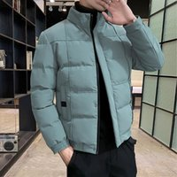 Men's Jackets Autumn Jacket Men Cotton Padded Coat Stand Collar Puffer Solid Color Casual Fall Clothes 2021 Trends