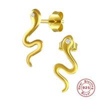 Серьги стерлингового серебра 925 стерлингового серебра для женщин простые золотые серебряные цветные гвоздики женские моды минималистские украшения 1438 Q2