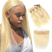 30 32 34 40 Inch Straight Brazilian 613 Hair Weave Bundles With Frontal Human Hair Bundles With Closure Hair Extension
