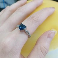 Wedding Rings Fashion Blue Gem Heart For Women Gemstone Zirconia Gold Silver Color Couple Ring Party Jewelry Gift 2021