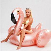 Cama flutuante da forma do flamingo cor-de-rosa cor de ouro PVC RAFT Passeio do colchão de ar no brinquedos da piscina Flutuadores infláveis Fashion 50hm B