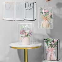 Gift Wrap PVC Florist Clear Handbags Transparent Waterproof Wrapping Flower Packaging Hand Bags For DIY Friend Decoration