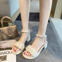 Sandals Round Toe Pearl 2021 Women's Block Heels Velvet Shoes Suit Female Beige Med Chunky Suede Girls Low Black Comfort Fas