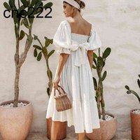 Boho Inspired white dot dress for women smocked bodice bow tied summer cute sexy puff sleeve new ladies