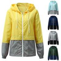 Women's Jackets Women Solid Splice Waterproof Windbreaker Autumn Winter Long Sleeve Pocket Outerwear Loose Streetwear Chaqueta Mujer