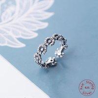 Anéis de cluster bonito daisy flor abertura anel 925 esterlina dedo prata vintage girassol crisântemo jóias de casamento ajustável