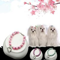 Pet Plastic Rhinestone Pearl Necklace Adjustable Decorative Collar For Dogs Cats Love Heart Design S M L Size Dog Collars & Leashes