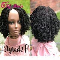 Nouvelles perruques synthétiques courtes pour femmes noires 14 pouces blac kinky twist perruque pleine micro tresse dentelle perruque avant avec cheveux bébé