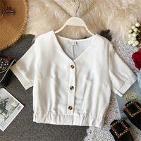 Women's Blouses & Shirts 2021 Korean Style Summer Crop Top Women Casual Shirt Sleeve Chiffon Blusas Womens Tops And Elegante 21082