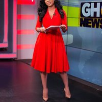 Casual Elbiseler Kadın Giyim Için Kırmızı Zarif Elbise Bir Çizgi Yüksek Vana V Boyun Diz Boyu Katı Moda Resmi İş İş Giyim Midi