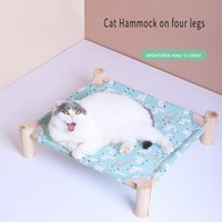 Cat Beds & Furniture Hammock Four-Legged Solid Wood Litter Removable And Washable Comfortable Dog Bed Pet Supplies