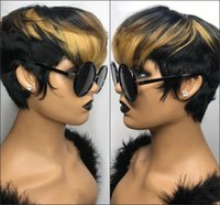 Ombre Blonde Color Short Wavy Bob Pixie Cut Wig Full Machine Made Non Lace Front Human Hair Wigs For Black Woman