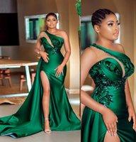 2021 아랍어 섹시한 사냥꾼 녹색 인어 댄스 파티 드레스 한 숄더 스팽글 레이스 아플리케 사이드 스플릿 새틴 스윕 기차 ASO EBI 이브닝 가운 Vestidos