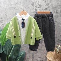 Детская одежда наборы мальчиков костюмы младенческие наряды детей носить весна осень осенью с длинными рукавами галстук вязаные кардиганские рубашки брюки брюки повседневные 3шт. B7267