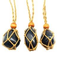 Cristal natural Negro Liso Liso Obsidiana Collar Colgante Curación Joyería Charms Hecho A Mano Retro Red Bolsillo Rope Rope