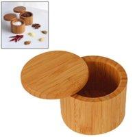 Herb Spice Tools Natural Bamboo Seasoning Pot Household Kitchen Supplies Pepper Vanilla Storage Box Round Tea Salt Pot