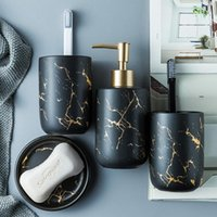 Bath Accessory Set Ceramic Imitation Marble Bathroom Washing Tools Bottle Mouthwash Cup Soap Toothbrush Holder Household Articles