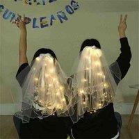 60 cm LED Aydınlık Düğün Peçe Inciler Beyaz Gelin Veils Çocuklar Için Prenses Parti Headdress Mantilla İplik Peri Şerit Yay Saç Yaylar Dekor G65ECM0