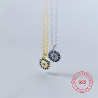 Alta Qualidade Classic Turco 925 Sterling Silver Pingente Colar Mulheres Cubic Zirconia Diabo Azul Mal Eye Jewellry