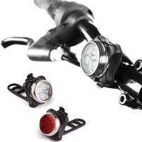 Set di luce ricaricabile USB luci da bici, faro anteriore super luminoso e luce posteriore a LED a LED, batteria al litio 650mAh, 4 modalità