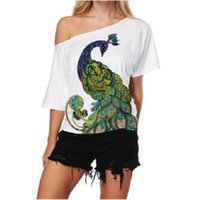 Summer Women Sexy Shirts Peacock Print Blouses Femme Off Shoulder Plus Size Tops Loose Blouse Tunic Chemisier Women's &