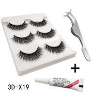 False Eyelashes 3 Pairs Hand-made Waterproof Glue Stainless Steel Tweezers Natural Set Eyelash Extension Eye Makeup