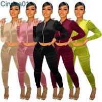 Women Tracksuits Two Piece Set Designer Coat Pants Velvet Fabric Pocket Zipper Jacket Leggings Solid Colour Casual Sports Suit 5 Colours