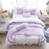 Bedding Sets Bow Ruffles Princess Duvet Cover Bed Sheet Pillowcases Cotton 4 6 8Pcs Set Wedding Solid Color Home Textile