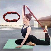 Asores-Ausrüstungen Liefert Sport Outdoorsaureorories Yoga Stretch Strap mit 8 Loops Elastic Folding Justierbare Band Latin Dance Stretch