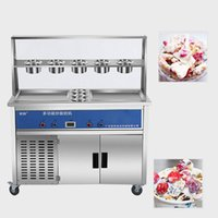 Commercial stainless steel frying ice cream machine has a longer service life. The 35*35 cm pot with 2 compressors is more powerful