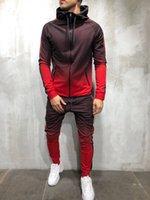 2019 Puimentiua Zipper Tracksuit Men Set Sporting 2 Pieces Sweatsuit Men Clothes Printed Hooded Hoodies Jacket Pants Track Suits Male