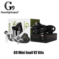 Authentic Greenlightvapes G9 Mini Enail V2 Kit DIY Dab Dabber Xlr Plug 25mm Vape Box Mod With Quartz Banger14mm Male Pipe Glass Cap for Concentrate WAX 100% Original