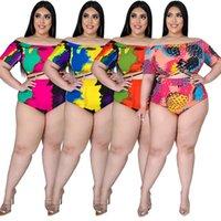 XL-5XL Artı Boyutu Kravat Boya 2 İki Parçalı Bikini Setleri Yaz Tatil Kıyafetler Kapalı Omuz Kırpma En Yüksek Bel Kısa Tatil Oyunları