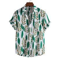 Folha Impressão Camisas Homens Manga Curta Casual Mens Aloha Camisa Praia Férias Hawaiian Camisas Verão Oversized Chemise Homome Homens Homens