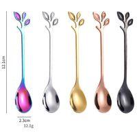 """Uzun Kolu Buzlu Çay Kaşık Çatal 7.4 """"Dondurma Kaşık Yaratıcı Altın Yaprak Kokteyl Karıştırma Paslanmaz Çelik Ayna Kaplama Mutfak Aletleri XHH2"""