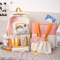 School Bags 5Pcs set Canvas Backpacks Women Lovely For Teenage Girls Bookbags Students Travel Shoulder